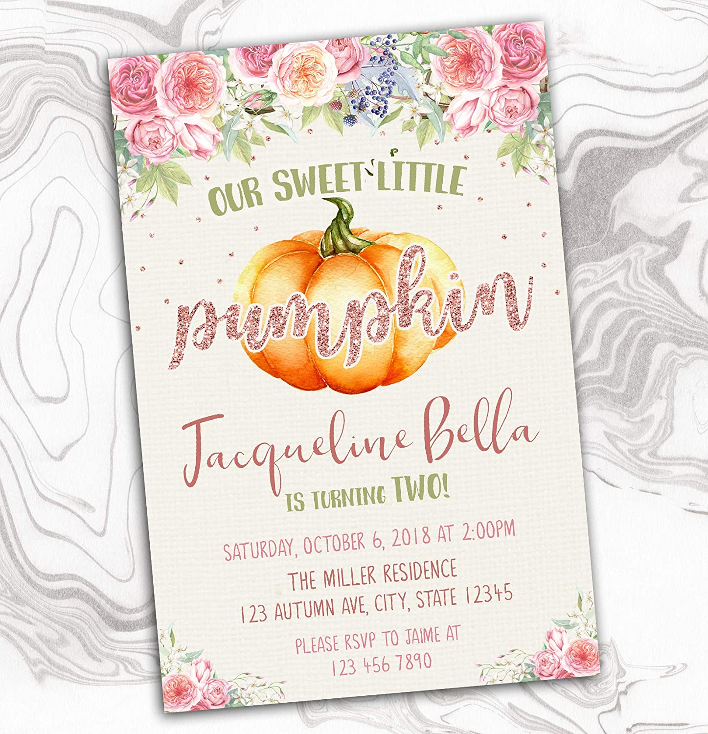 Translated Pumpkin Invitation - Fall Super special price Invite Pink Our Little A