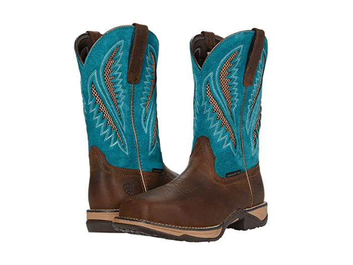 Ariat  Anthem VentTEK Composite Toe (Royal Chocolate/Turquoise) Cowboy Boots