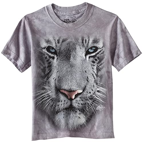 7458d08e0 Old Glory - Mens White Tiger Face T-Shirt - Large Grey
