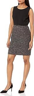 Women's Jewel Neck Stretch Crepe Combo Dress with Belt