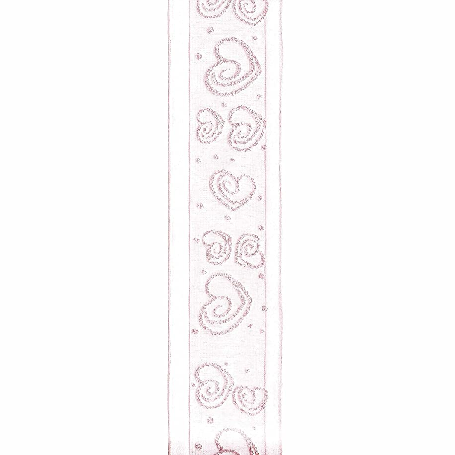 Offray Wired Edge Swirl Heart Craft Ribbon, 1 1/2-Inch x 9-Feet, Pink
