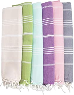 HAVLULAND Set of 6 Towel%100 Cotton Pestemal Turkish Towel 76x38 Bath Towel Turkish Beach Blanket Travel Towels Fast Dryin...