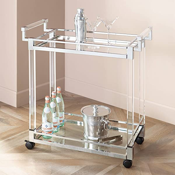 Clear Acrylic Chrome 32 3 4 Wide Rolling Serving Bar Cart Studio 55D