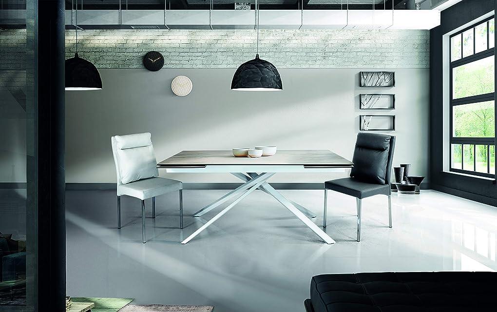 Tavolo in marmo vetroceramica bianco - fashion commerce fc948, gambe intrecciate.  made in italy