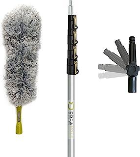 DocaPole con palo telescópico de 1,8-7,3 metros de extensión + plumero de microfibra // Kit de extracción de polvo de alto alcance para extracción de polvo de techos altos y superficies