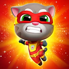 ANYONE CAN BE A SUPERHERO: Talking Tom, Talking Angela and their super friends all have amazing unique superpowers that they can use while running! Players can also try using their high-tech superhero gadgets! DEFEATING RACCOON GANGS: Besides collect...