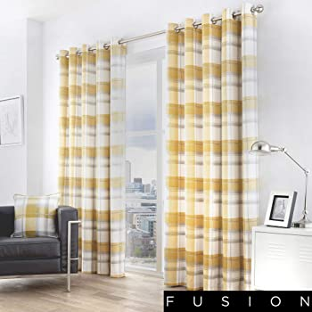 Fusion Adriana 100 Cotton Ready Made Pair Of Eyelet Curtains