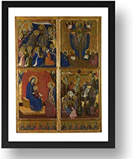 Period Prints Barnaba da Modena: Escenas de la Virgen; La Trinidad; La Crucifixión, arte vintage, reproducción A3 en 17x13 (A3) Marco Negro