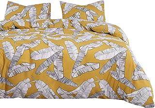 Wake In Cloud - Yellow Duvet Cover Set, Banana Tree Leaves Black White Drawing Pattern Printed, Soft Washed Microfiber Bedding Zipper Closure (3pcs, King Size)