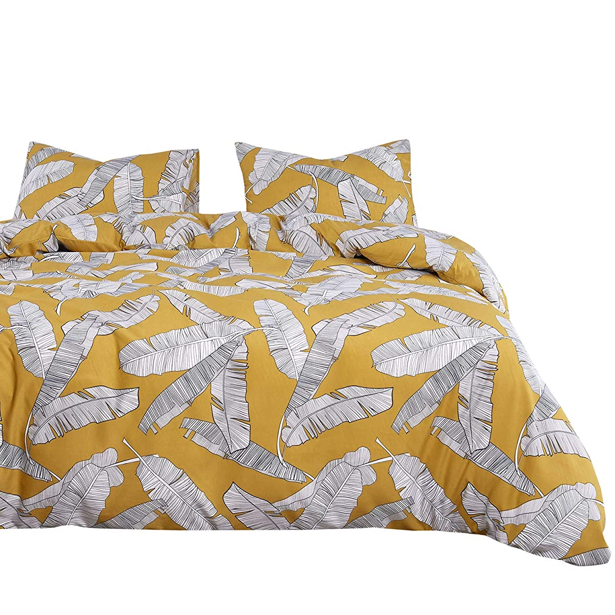 Wake In Cloud - Yellow Duvet Cover Set, Banana Tree Leaves Black White Drawing Pattern Printed, Soft Washed Microfiber Bedding Zipper Closure (3pcs, Twin Size)
