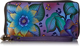 Hand Painted Leather Women's Zip-Around Clutch Wallet