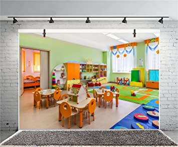 CSFOTO Kindergarten Teaching Room Backdrop 10x6.5ft Photography Background Colorful Nursery School Indoor Colorful Toy Wood Tables Chairs Kids Child Shoot Banner Poster Studio Props