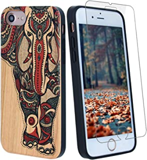 Color 3D Elephant Wood Phone Case Compatible with iPhone XR Case Including Strong 9H Glass Screen Protector, Wireless Charging Compatible,Shockproof Protective Cover