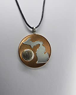 Michigan pendant jewelry necklace hand crafted by us, unisex, Petoskey stone, state, natural stone natural copper Michigan nice 1 1/2 inch Size