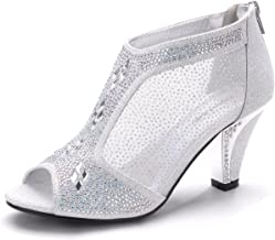 Mila Lady Women's Lexie Crystal Peep Toe Low Heels Wedding Dress Shoes M-KIMI26