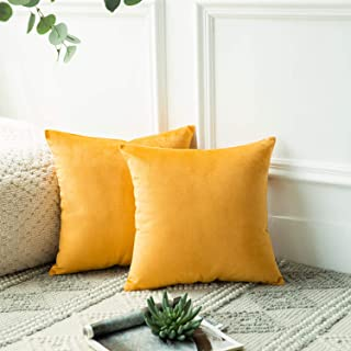 Azume 18x18 inch Decorative Throw Pillow Cover Soft Velvet Cushion Cases, Solid Accent Cushion Covers for Sofa Couch Chair Living Room Bedroom Office, 2 Packs, Yellow