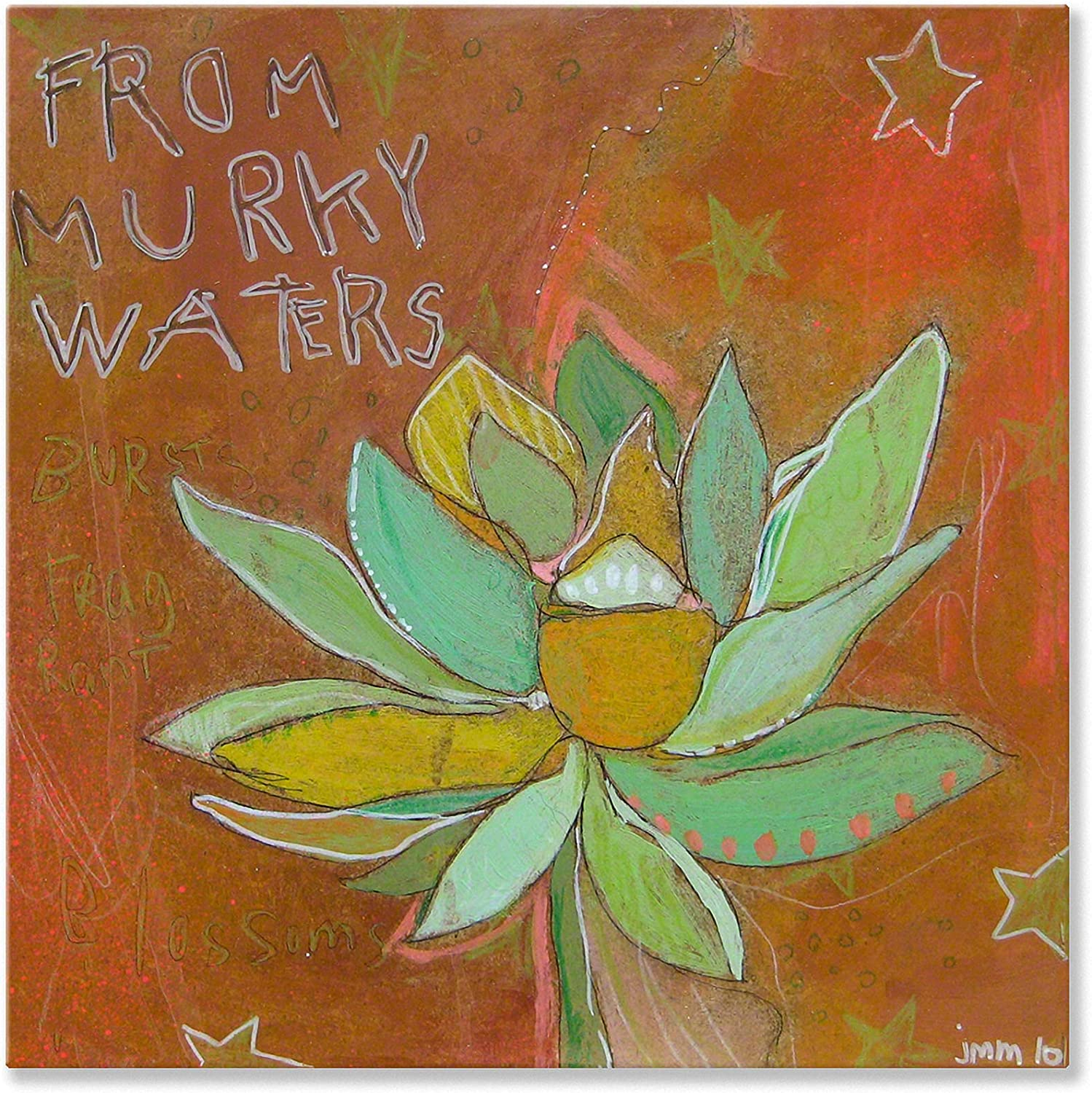 Wheatpaste Lotus Murky Canvas Wall Art, 18x18, Brown