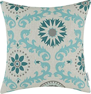CaliTime Canvas Throw Pillow Cover Case for Couch Sofa Home Decoration Three-Tone Dahlia Floral Compass Geometric 20 X 20 inches Teal/Duck Egg/Gray