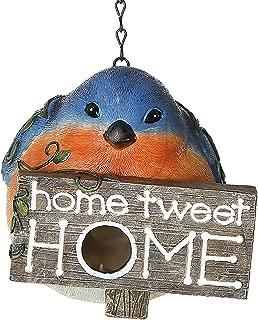 CEDAR HOME Hanging Bird Houses Outdoor Garden Patio Decorative Pet Cottage Resin Birdhouses, Blue