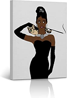 Buy4Wall Audrey Hepburn Style African American Girl Wall Art Canvas Print Digital Paint Decorative Art Home Decor Artwork Stretched and Framed - Ready to Hang -%100 Handmade in The USA 12x8