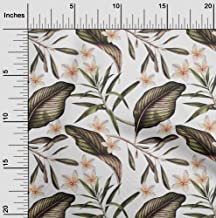 oneOone Cotton Silk White Fabric Floral & Leaves Tropical Sewing Craft Projects Fabric Prints by Meter 42 Inch Wide