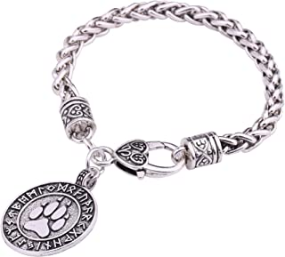 Nordic Viking Runes Alloy Pendant Necklace Bear Paw Print Amulet Talisman Jewelry