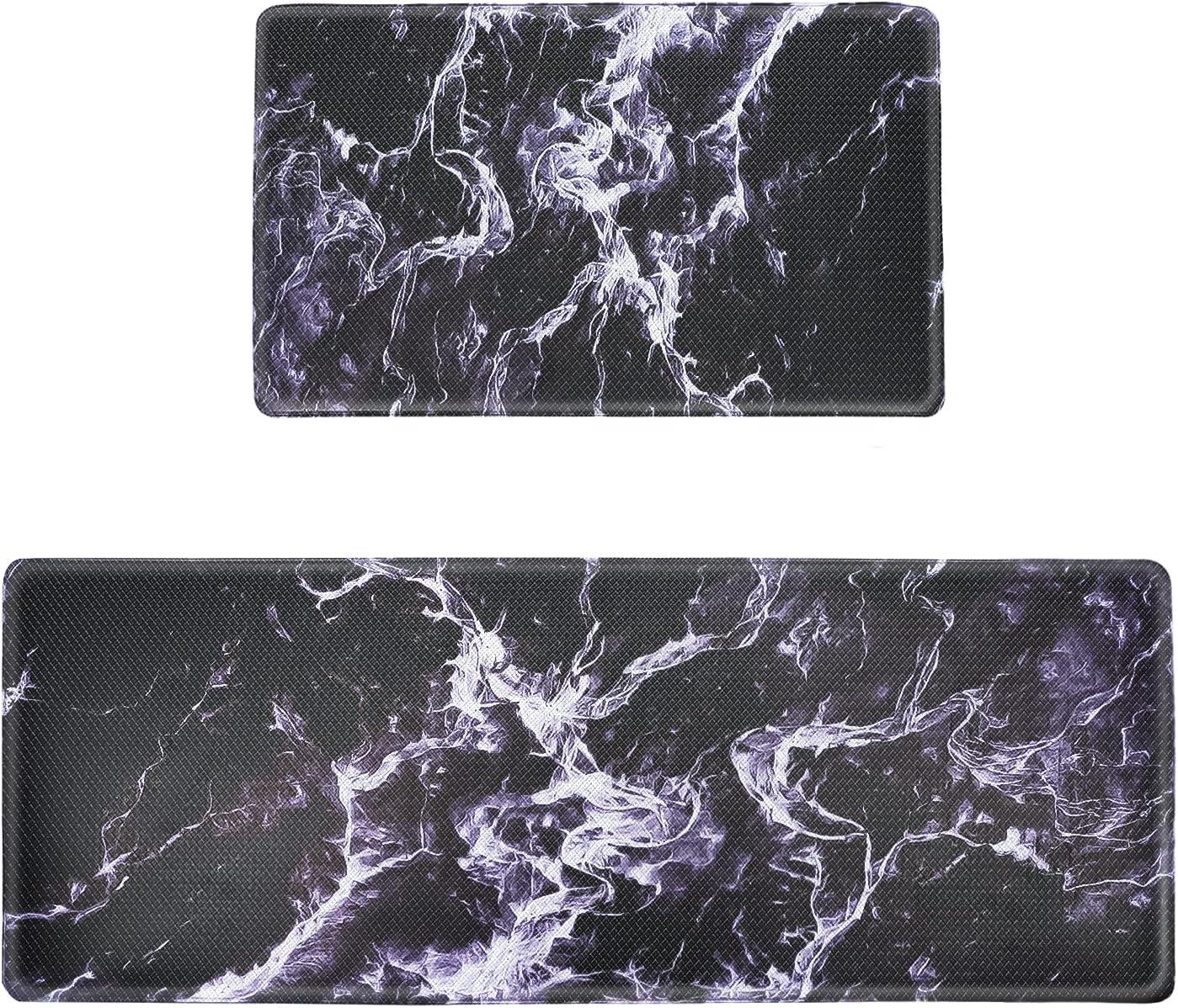 Kitchen Mat 2 PCS Marble Superlatite Soft PVC Oakland Mall Durable Co Rug Rubber