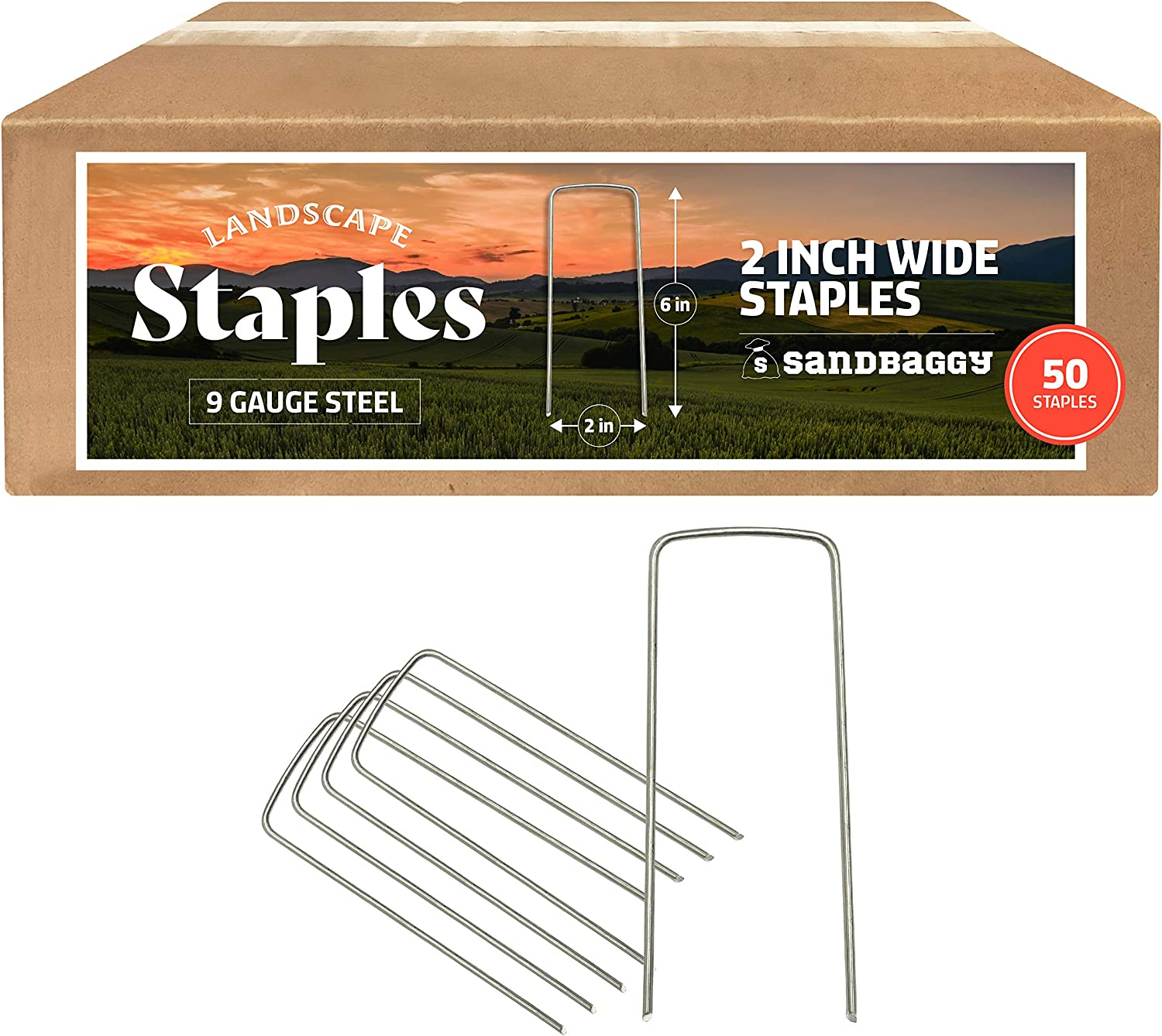 Sandbaggy 2 Inch Extra Wide Landscape Staples| Landscape Fabric Pins | Heavy Duty Industrial Grade Garden Staples | Designed to Hold Down Drip Tubing & PVC Up to 2