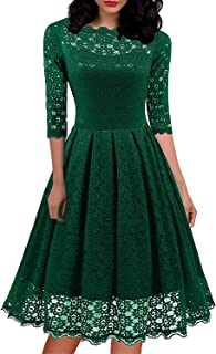 Women's 1950s Vintage Round Neck Bracelet Sleeve Floral Lace Swing Dress for Party