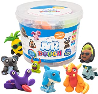 Sponsored Ad - Air Dough - 60 Bags of Colored, Air Dry, Ultra Light, Non-Toxic Modeling Clay in a Bucket Including Accesso...