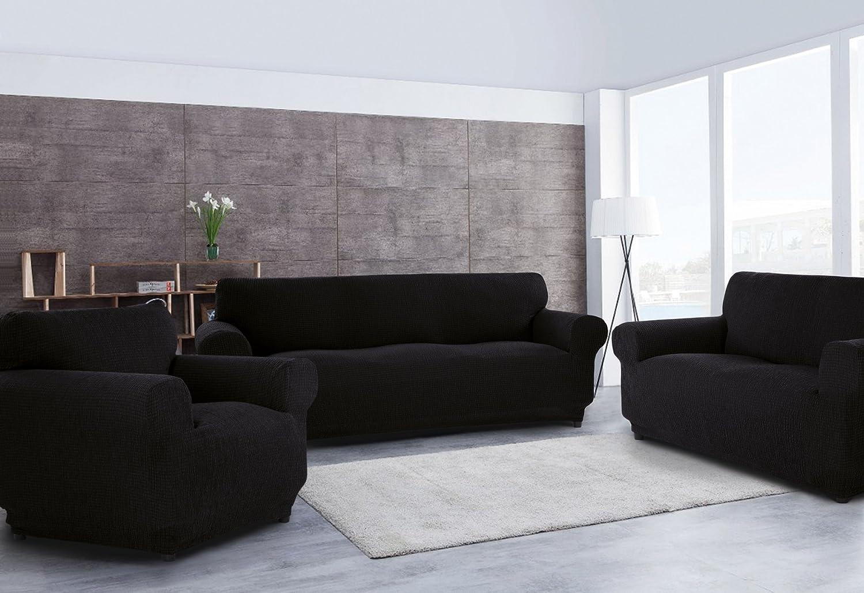 Sofabezug für 3-Sitzer + + + 2-Sitzer-Sofabezug + 1 Sesselbezug, dehnbar, anpassbar Schwarz B07217LWTG 68f994