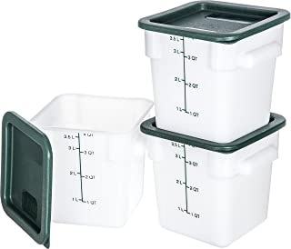 Carlisle 10731-302 Plastic Square Food Storage Container with Lids, 4 Quarts , White (Set of 3)