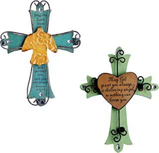 Unique Wooden Crucifix With Antiqued Metal Decorative Dove & Heart And Inspirational Prayer Inscribed On Cross (Set of 2)