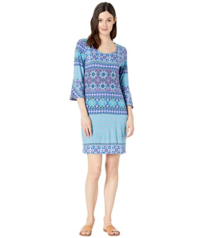 Tribal Slub Jersey 3/4 Bell Sleeve Dress (Pink) Women