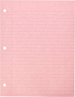 School Smart 3-Hole Punched Filler Paper, 8-1/2 x 11 Inches, Pink, 100 Sheets - 087155