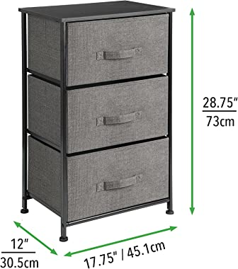 mDesign Storage Dresser End/Side Table Night Stand Furniture Unit - Small Standing Organizer for Bedroom, Office, Living Room