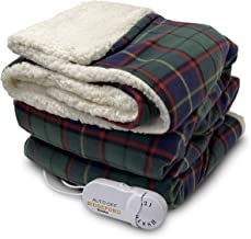 Biddeford Blankets Comfort Knit Sherpa Electric Heated Blanket with Analog Controller, Throw, Blue/Green Plaid