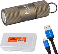 Olight I1R 2 EOS 150 Lumen Mini USB Rechargeable Keychain Flashlight and LumenTac Cable Case (Tan)