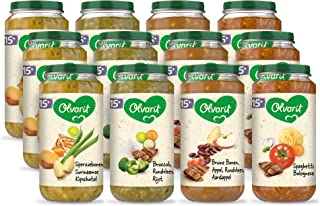Olvarit Variatiemenu Maaltijd - babyhapje voor baby's vanaf 15+ maanden - 4 verschillende smaken babyvoeding - 12 maaltijd...