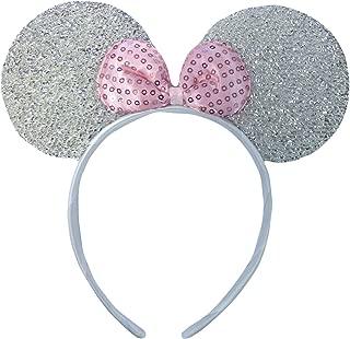 Silver Glittery Sparkly Minnie Mouse Ears Fancy Dress Headband by DangerousFX