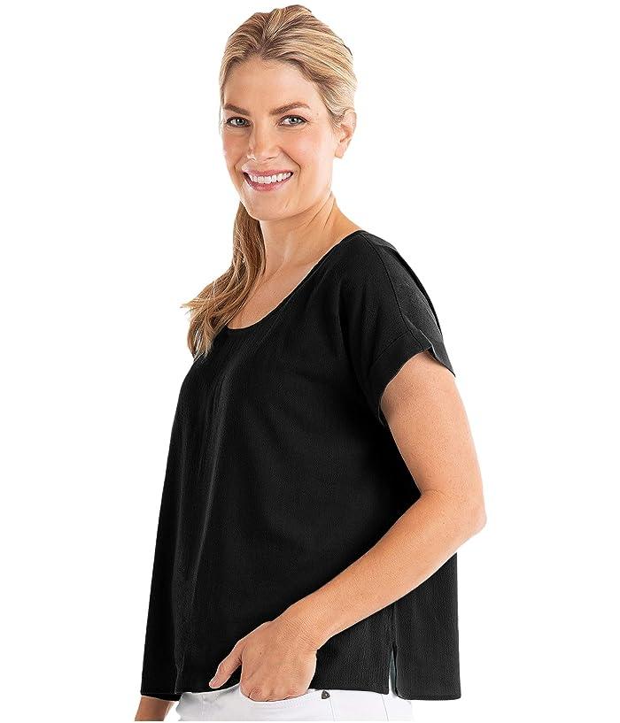 Fresh Produce  Avila Short Sleeve Shirt in Soft Woven Crepe (Black) Womens Clothing