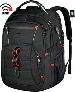 KROSER Travel Laptop Backpack 17.3 Inch Large Computer Backpack Stylish College Backpack with USB Charging Port & RFID Pockets Water-Repellent Day pack for School/Business/Men/Women-Black