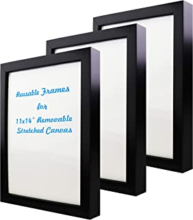 Natural art 11x14 Inch Removable Stretched Canvas with Reusable Frames Pack of 3 for Paintings Black