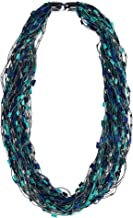 CTM Women's Multi-Blue Layered Scarf Necklace with Magnetic Closure