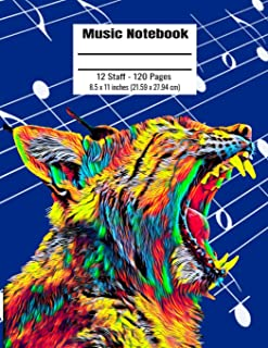 Music Notebook: 120 Blank Pages 12 Staff Music Manuscript Paper Colorful Wild Lynx Cover 8.5 X 11 Inches (21.59 X 27.94 CM)