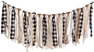 Ling's moment Buffalo Plaid Fabric Tassel Garland, Lace Burlap Rig Tie Banner, Fall/Thanksgiving Decorations, Rustic Wedding Garland, Shabby Chic Garland Rag Tie Banner, 4FT (Black+White+Khaki)