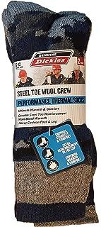 Dickies 2-Pair Men's Steel Toe Wool Crew Performance Thermal Socks 6-12 - Grey Camo Assortment