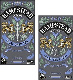 Hampstead Earl Grey Tè Nero Biologico e Biodinamico con Bergamotto - 2 x 20 Bustine di Tè 80 Grammi