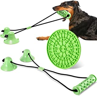 FiGoal Dog Chewing Toy with Double Cup and Snack Pad (Green) Interactive Dog Toys Indestructible Dog Chew Toy for Aggressi...