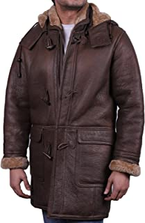 Brandslock Mens Toscana Genuine Shearling Sheepskin Leather Duffle Trench Coat